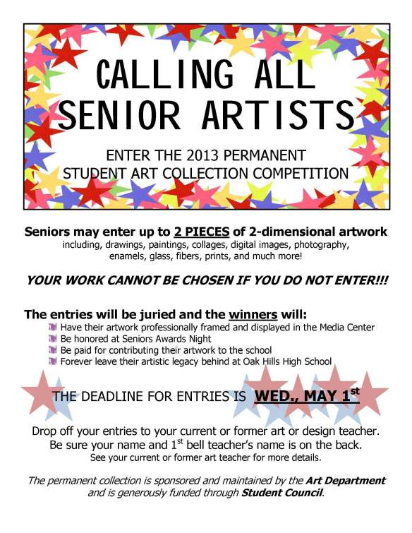 CALLING ALL SENIOR ARTISTS